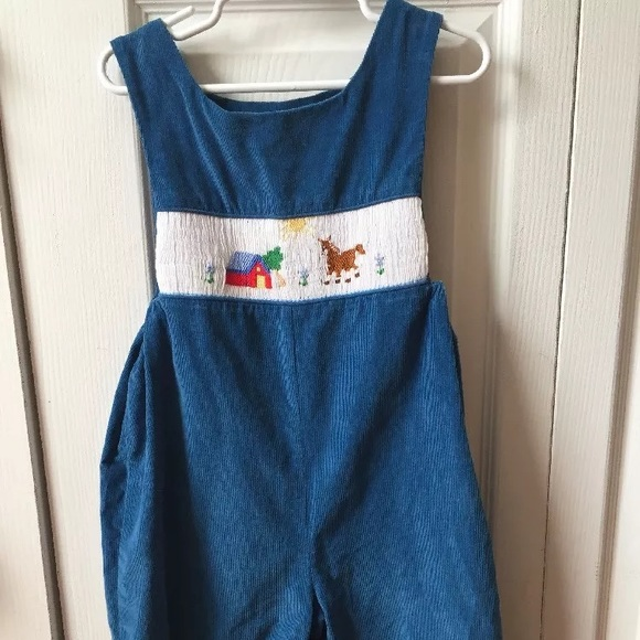 4897c17df97f House of Hatten Other - Smocked Farm theme blue longall 3T boys